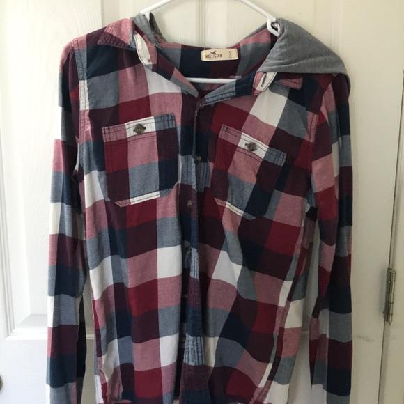 hollister hooded flannel